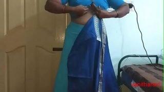 desi Indian  tamil aunty telugu aunty kannada aunty  malayalam aunty Kerala aunty hindi bhabhi horny cheating wife vanitha wearing saree showing big boobs and shaved pussy Aunty Changing Dress ready for party and Making Video